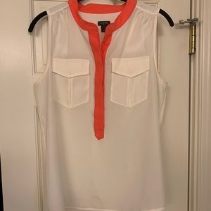 J.Crew tipped sleeveless popover - white and coral
